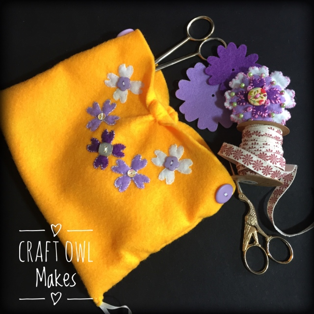 yellow lilac pouch sewing accessories